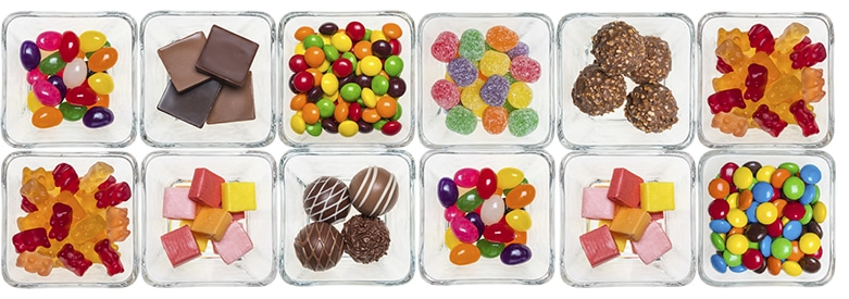 Candy Trays with 12 different candies
